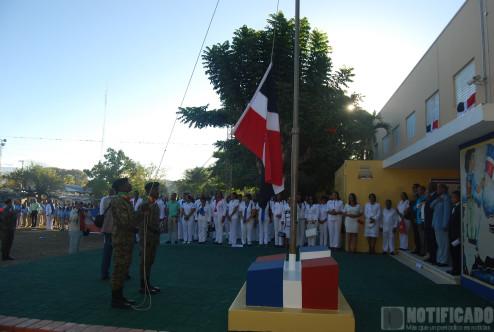 Izamiento de la bandera en el 198 aniversario del natalicio de Francisco del Rosario Sánchez