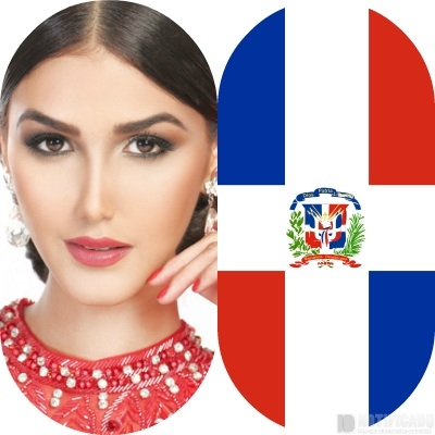 Kim Castillo, posando con la bandera de la dominicanidad